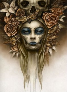 Find images and videos about beautiful, gold and sugar skull on We Heart It - the app to get lost in what you love. Sugar Skull Girl, Sugar Skull Makeup, Sugar Skulls, Sugar Skull Artwork, Candy Skulls, Los Muertos Tattoo, Catrina Tattoo, Totenkopf Tattoos, Day Of The Dead Skull