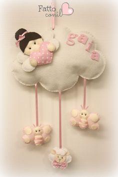 fiocco nascita nuvola con angioletto del cuore e pendenti - Bambin... | su MissHobby