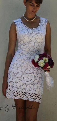 what a beautiful irish crochet dress. Crochet Skirts, Crochet Blouse, Crochet Clothes, Knit Dress, Lace Dress, Moda Crochet, Crochet Lace, Freeform Crochet, Irish Crochet