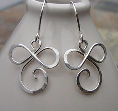 Sterling Silver Infinity Swirly Curly Dangle Earrings