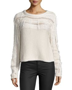 Love the fringe and other knit details throughout this sweater.  Ramy Brook Long-Sleeve Knit Jessica Sweater, Ivory