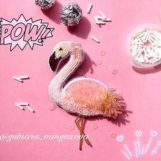 #брошьрозовыйфламинго #вналичии выполнен из японского бисера #toho и матовых паеток, изнанка искусственная замша. _ _ #brooch #handmade #trends #брошьуфа #брошьизбисера #ручнаяработа #делорук #брошьфламинго #pink #flamingo #сделанослюбовью #acsessories