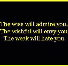 The wise will admire you. The Wishful will envy you. The weak will hate you.