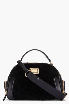 MARC BY MARC JACOBS black shearling bowler bag