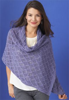 Free knitting pattern. Openwork lace wrap for just enough coverage at weddings and other Spring and Summer events.  Shown in Patons Grace.