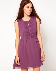 Asos. Darling Dress With Lace Trim