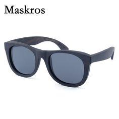 Maskros Spring Hinge Wood Polarized Sunglasses Men Women Vintage Wooden Sun Glasses Coating Uv400 Square Frame Women's Shades