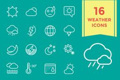 Weather Icons Vector Set by Vector-Stock on Creative Market