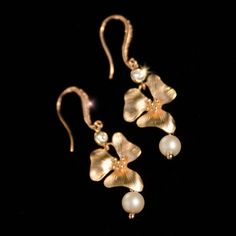 Rose Gold Bridal Earrings, Rose Gold Wedding Earrings, Flower Blossom Earrings, Pearl Bridal Earrings, Rose Gold Pearl Earrings- MAYA