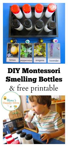 These simple DIY Montessori smelling bottles are made from recycled plastic spice/herb jars. Also included is a free herb printable to match the smells. - www.mamashappyhive.com