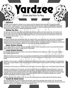 Printable Yahtzee Score Sheets Pdf 11 X The Best Yahtzee Rules Ideas On … - Modern Yahtzee Rules, Yard Yahtzee, Yahtzee Score Card, Yahtzee Score Sheets, Fun Games, Games For Kids, Dice Games, Recess Games
