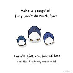 Take a penguin! They don't do much, but they'll give you lots of love. And that's actually worth a lot.
