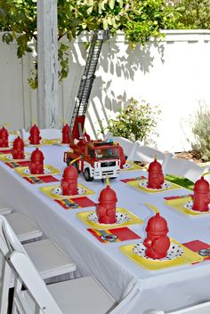 Firetrucks and Dalmatians 4th Birthday | CatchMyParty.com