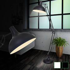 Lampadaire style anglepoise Blanc / Noir Lampe de salon sur pied Lampe de sol