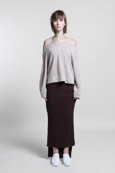 Off Shoulder Wool Sweater #HeatherGrey #NaturalBrown #CreamWhite #nuditefashion #nudite #design #white #line #minimal #minimalist #simple #pale #plain #AW