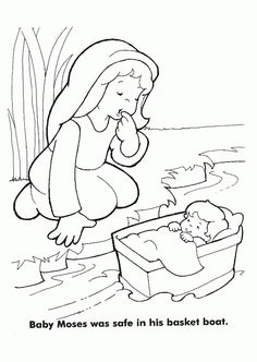 Bible coloring page - Baby Moses - preschool | Kid Printables ...