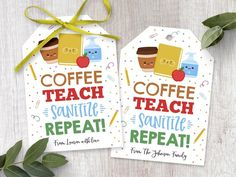 Editable Teacher Gift Tag, Back To School Hand Sanitizer Soap Gifts For Teacher, Coffee Teach Sanitize Repeat, First Day Of School Thank You