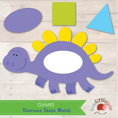 Busy Little Bugs Dinosaur Shape Match - A shape and colour matching game printables