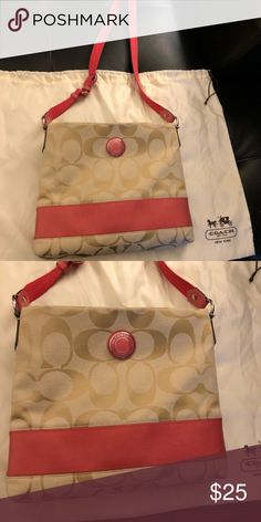 Coach Crossbody Purse Light tan and pink coach crossbody Super cute pink band with signature c pattern Like new Coach Bags Crossbody Bags