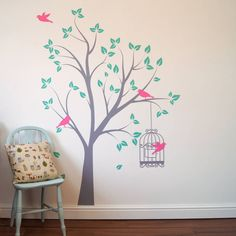 tree with bird cage wall stickers by parkins interiors | notonthehighstreet.com