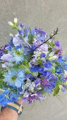 Blauw  bruidsboeket