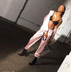 That's how its Dunn! Model Jourdan, 26, showed off her killer body on Friday as she uploaded a behind-the-scenes snap from the shoot for her new clothing line on Instagram