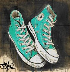 ARTFINDER: green stars by Loui Jover - ink and paint on vintage book pages, from the ongoing series of works of my favorite shoes,converse,allstars,chucks very popular series with collectors world...