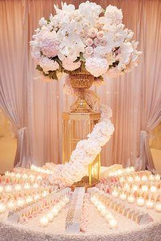 Classic wedding reception centerpiece idea; Featured Photographer: KLK Photography