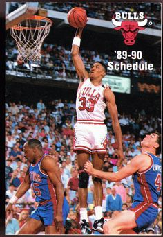 1989-90 CHICAGO BULLS AT&T BASKETBALL POCKET SCHEDULE FREE SHIPPING #SCHEDULE