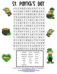 ★ FREE St Patrick's Day resources on TpT – Visit our new blog for more freebies-http:/...  TpT Store: Elementary Lesson Plans. Looking for a cute St. Patrick's Day word search? This is a great morning work activity, literacy center, or a follow up activity after reading a b...