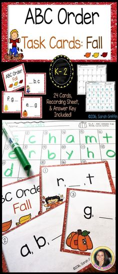 Fall themed ABC order task cards for small group ELA centers, whole class Scoot games, assessments, tutoring activity, and take-home activity bags.  Kindergarten, 1st, and 2nd grade standards.