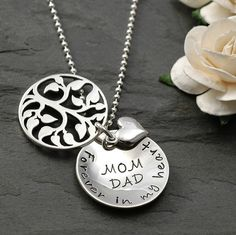 In Remembrance - Hand stamped Memorial Necklace - Family Tree - sterling silver Personalized Memorial Gifts, Memorial Jewelry, Hand Stamped Jewelry, Beautiful Gift Boxes, Custom Jewelry, Unique Jewelry, Heart Charm, Jewelry Necklaces, Accessories