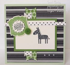 Cutest Baby Zebra Ever - Paper: Pistachio Pudding, Gumball Green, and Very Vanilla cardstock; Modern Medley and Birthday Basics designer series paper Ink: Gumball Green, StazOn black Stamps: Label Love, Zoo Babies Tools/Accessories: Stampin' Trimmer, Artisan Label punch, 7/8″ Scalloped Circle punch Embellishments/Adhesives: Pearl Basic Jewels, In Color Dahlias, Stampin' Dimensionals