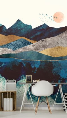 Create a cool and tranquil space with this stunning Blue Mountain Reflection wall mural in your lounge, home office or bedroom! This image is ©️️️️ - SpaceFrog Designs. How to make a small room look bigger with a stunning wall mural. We have classic or premium paste the wall wallpapers that come with a FREE paste. Click to find out more from Wallsaauce! #wallmural #wallpaper #homeofficeidea #homeofffice #homedecor #accentwall Peel And Stick Wallpaper, Wall Wallpaper, Panoramic Photography, Mountain Wallpaper, Tropical Wallpaper, White Duvet Covers, Landscape Wallpaper, Blue Mountain, Designer Wallpaper