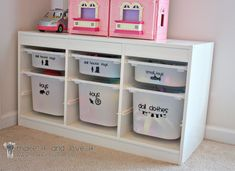 Great closet storage idea! Make this case, then use cricut to make vinyl letters & pictures so the kids know where things go