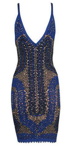 'SHELINS' TEXTURED BLUE BANDAGE DRESS