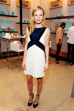 Kate Bosworth wearing a colorblock Pucci dress and Bionda Castana heels
