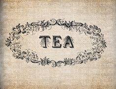 Antique Ornate Retro Kitchen Tea Label Digital door AntiqueGraphique