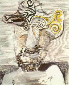Pablo Picasso. Buste d homme au chapeau. 1972 year