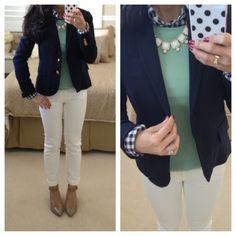 Gingham and mint top, white bottom, navy blue blazer