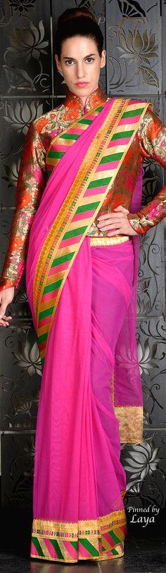 Rohit Bal Love the color combo Indian Wedding Outfits, Indian Outfits, India Fashion, Fashion 2015, Fashion Weeks, Mehndi, Rohit Bal, Modern Saree, Sari Blouse Designs
