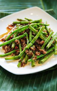 Aus der Hunan Küche: Grüne Bohnen mit Rind