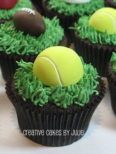 Who ever knew that there was a lot of decisions involved in picking out a tennis ball? Tennis Cupcakes, Tennis Cake, Tennis Party, Tennis Gifts, Themed Cupcakes, Birthday Cupcakes, Tennis Dress, Tennis Ball Crafts, Tennis Decorations