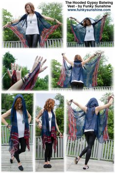 Funky Sunshine's newest creation! Hooded Gypsy Batwing Vests! (Made-To-Order)