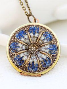 Locket, Poppy Locket,Resin locket,Blue Locket,filigree locket ,photo locket ,vintage brass locket -Wedding Necklace