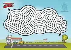 There are heavy clouds in the sky. Do your best to land the plane safely! CLICK on the picture and download high quality PDF maze to print out.  Or use the b