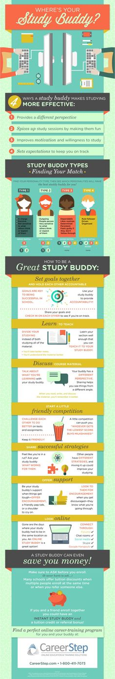 The Study Buddy Infographic reveals how a study buddy makes studying more effective, while it also analyzes the different study buddy types!