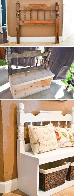 Awesome Ways to Give a Makeover to a Small Entryway Entryway bench made from an old headboard and some boards.Entryway bench made from an old headboard and some boards. Easy Home Decor, Handmade Home Decor, Recycled Home Decor, Home Goods Decor, Recycled Art, Furniture Projects, Home Projects, Wood Furniture, Farmhouse Furniture