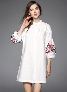 1d2c4753585a White Cotton Dress Black Red White Cotton Floral 3 4 Sleeves Above Knee  Dresses White