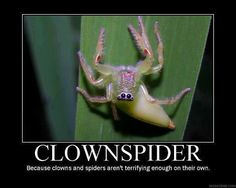 Since I am scared of clowns, and Marshall is scared of spiders...I think we'd just burn the apartment down...
